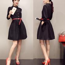 2015秋装新款连衣裙气质修身格子七分袖时尚显瘦收腰连衣裙女新款