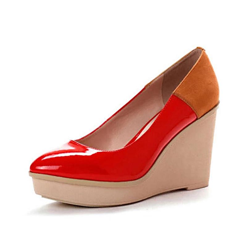 Daphne/达芙妮秋款漆皮时尚镜面拼色坡跟浅口单鞋1013101034