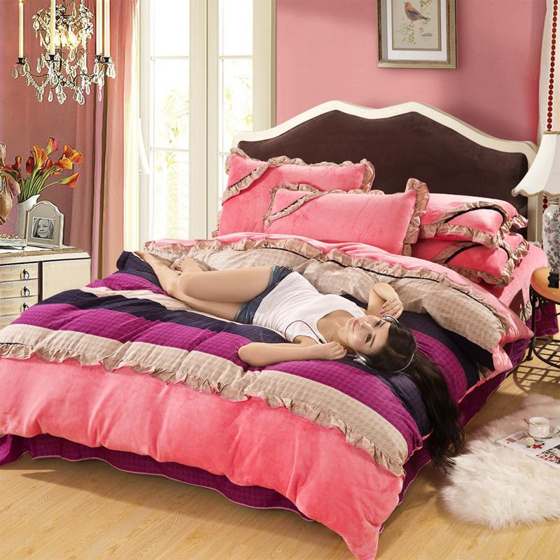 韩版珊瑚绒四件套加厚床单款法兰绒4件套法莱绒保暖套件冬季特价