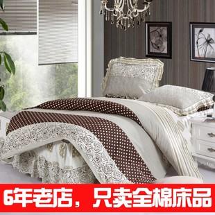 采莲家纺全棉印花夹棉加厚床罩四件套纯棉韩式1.5/1.8米床裙套件