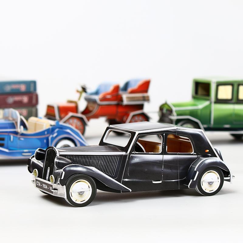 乐立方3D立体拼图复古老爷汽车拼装模型儿童手工制作益智玩具礼物