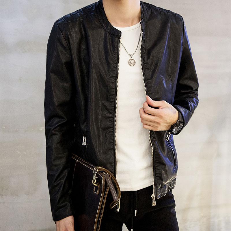 秋季修身型外套立领男装短款夹克拉链青年新款休闲仿皮皮衣皮衣