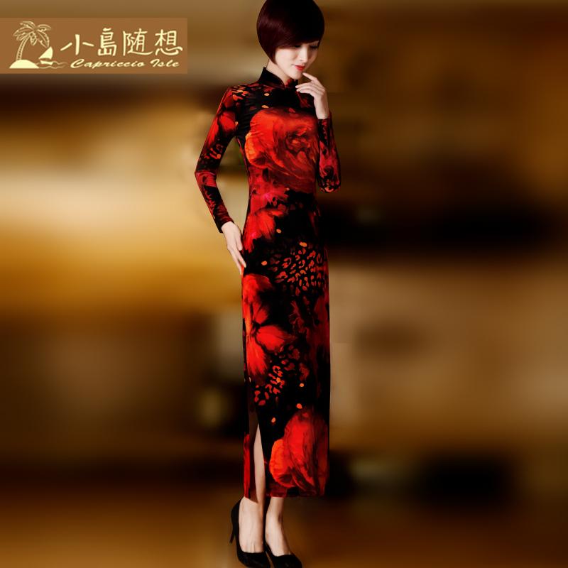 中国风女装改良丝绒旗袍长款长袖秋款连衣裙礼服金丝绒旗袍裙秋冬