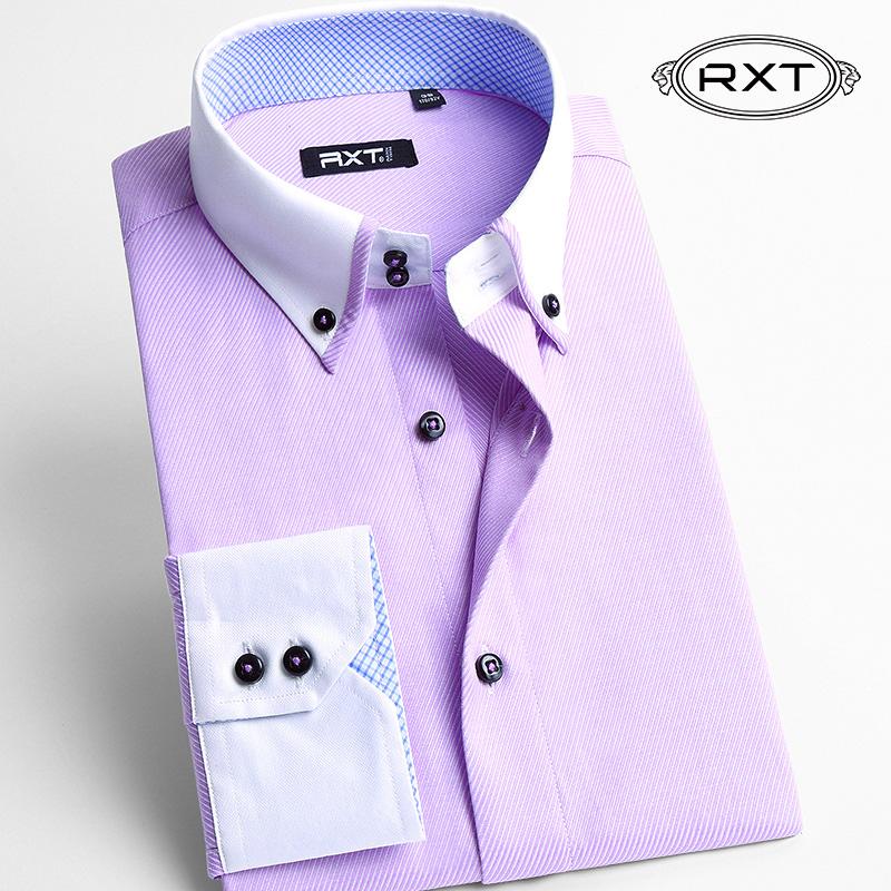 RXT秋装撞色领青年男款衬衫修身型  商务绅士纯色免烫寸衣男长袖