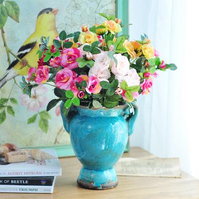 欧式田园美式乡村法式复古做旧陶瓷花瓶典雅玫瑰绢花仿真花艺套装