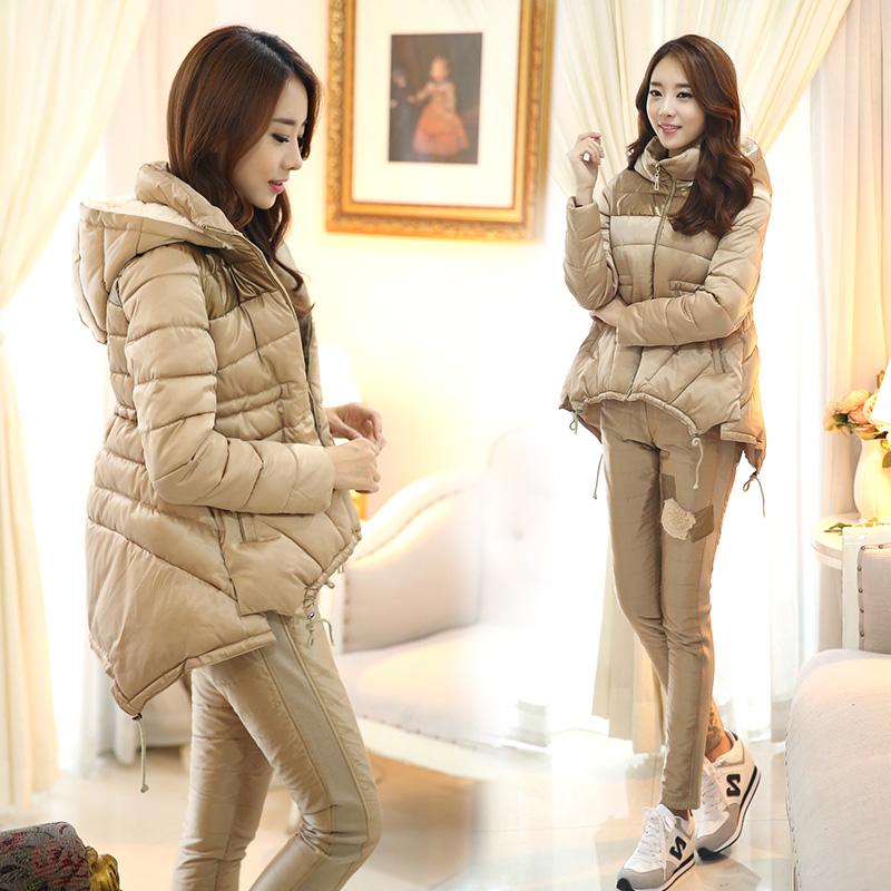 韩国实拍冬装新款韩版加厚羽绒服高档斗篷型两件套羽绒棉服女