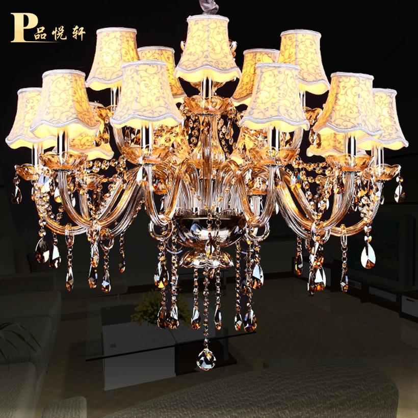 欧式进口干邑色水晶吊灯客厅k9水晶灯饰餐厅卧室蜡烛水晶吊灯15头