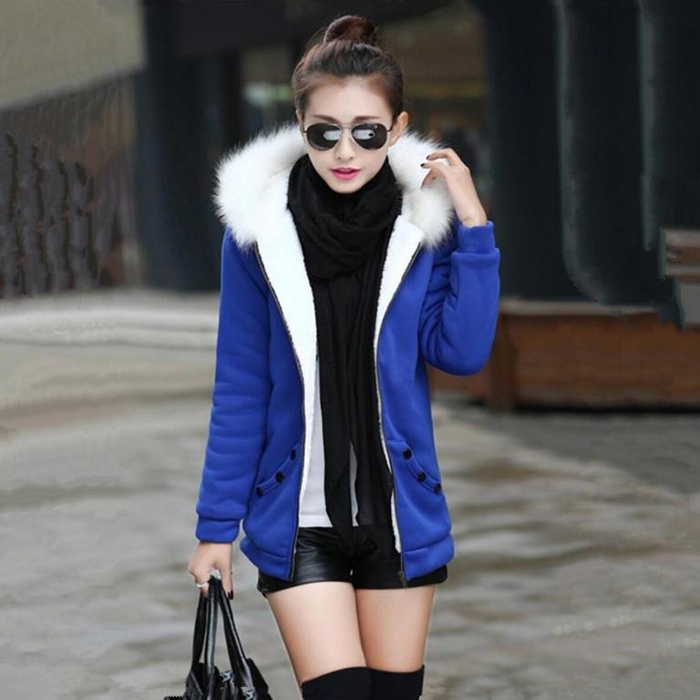 2014新款潮开衫加绒休闲运动卫衣女秋冬正品中长款加厚连帽衫外套