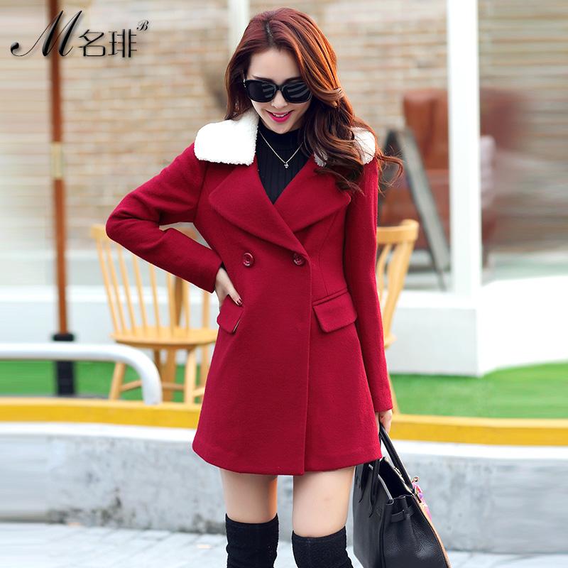 秋冬新款女式韩版大码修身毛领呢子大衣中长款韩范小香风毛呢外套