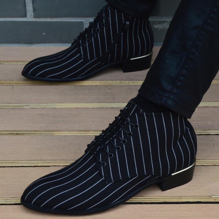 男鞋休闲马丁靴韩版英伦尖头高帮皮鞋男士短靴内增高布面时尚靴子