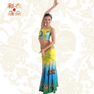 CAIDUO/彩衣朵朵傣族舞蹈筒裙 特色民族服装演出服饰舞台个性女装