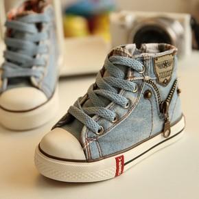 2015春款牛仔高帮儿童鞋子一休春秋款小大童板鞋男童女童帆布鞋潮