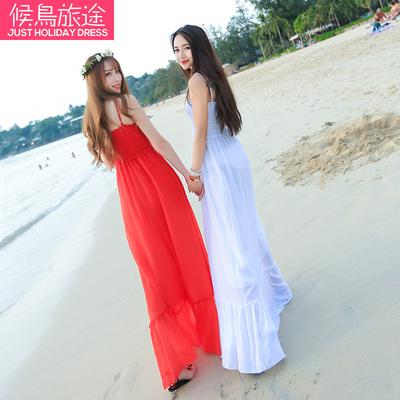 [限时优惠] 波西米亚雪纺连衣裙韩版显瘦吊带长款海边度假沙滩裙长裙女神飘逸