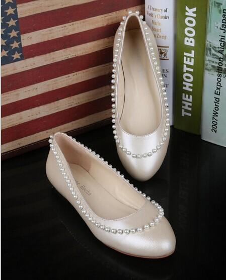 香港simone rocha 女鞋 T台走秀 珍珠平底单鞋欧洲站杨幂同款女鞋