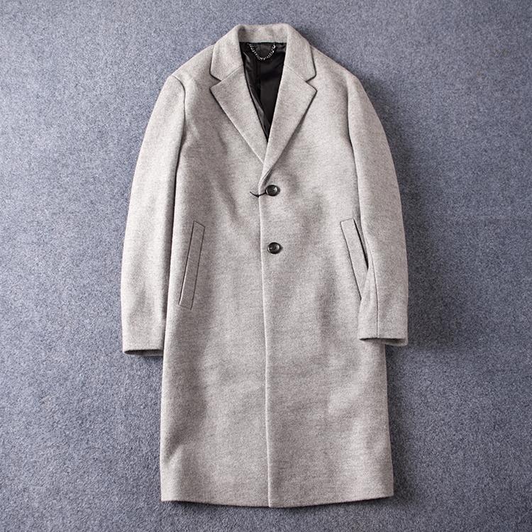 欧美单老顾客必秒!冬季男装时尚大码经典翻领羊毛大衣风衣外套