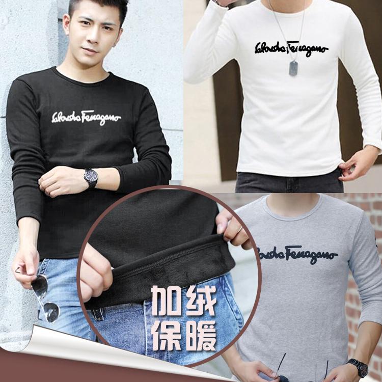 新款春装加厚青年韩版印花T恤 加绒修身圆领保暖打底衫潮