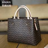Aman品牌欧美时尚2017新款正品女士包包手提包女简约手拎包大小款