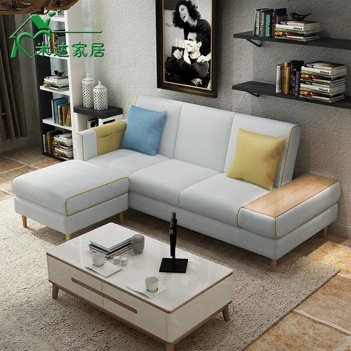 小户型布艺沙发组合 北欧双人三人位沙发可拆洗 储物多功能沙发床
