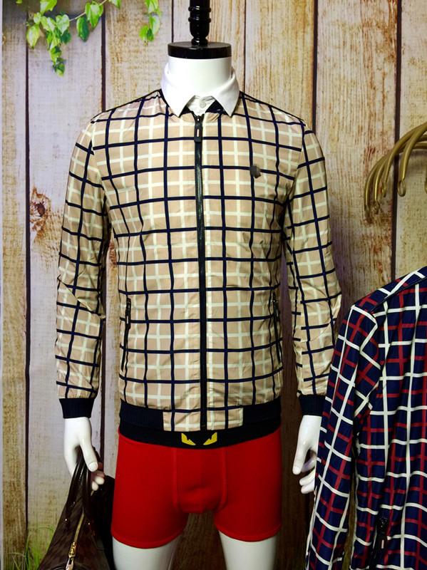 2015春季新款男士英伦风修身画皮净版拼接彩色格子夹克衫小外套