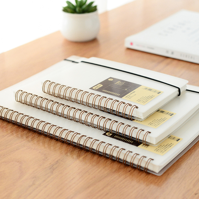 优凡自然优品线圈本透明封面弹力绷带侧翻线圈横线记事硬面笔记本