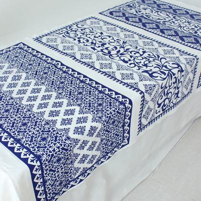 定位棉麻蓝印花布料民族风青花瓷窗帘桌布手工diy中国风装饰布厚