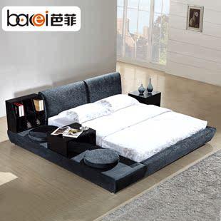 芭菲 韩式榻榻米布床 双人床 拆洗布艺床 婚床软床 送书柜茶几