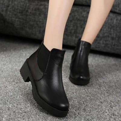 短靴粗跟圆头马丁靴女短筒英伦女靴子潮女鞋棉冬靴