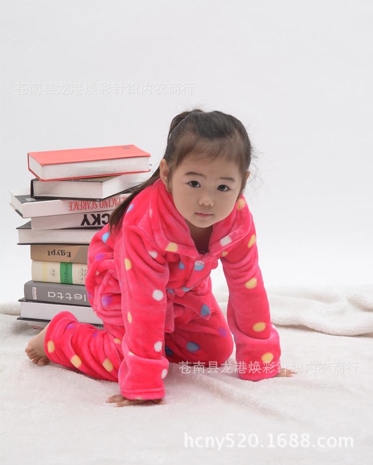 儿童睡衣 2014新款水貂绒男女儿童卡通睡衣套装 家居服 保暖睡衣