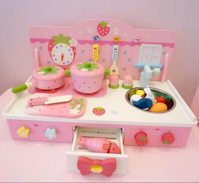 木制仿真过家家幼儿童厨房玩具厨具套装切切做饭灶台宝宝生日礼物