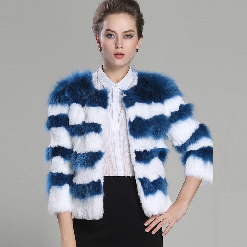 2014冬季新款皮草大衣 欧美简约撞色条纹七分袖短款时尚皮草外套