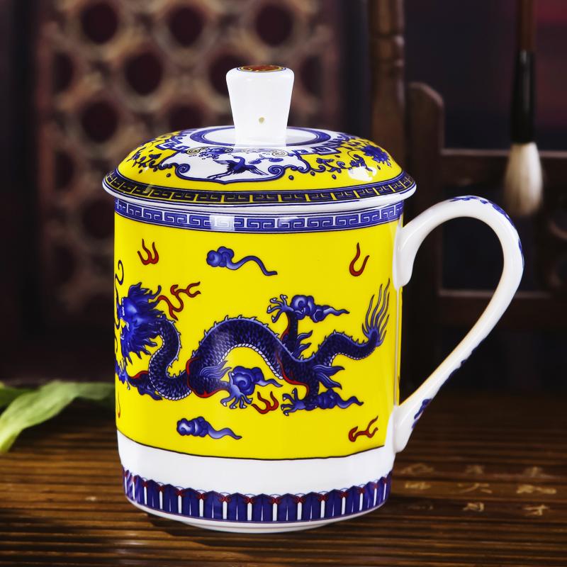 景德镇陶瓷茶杯带盖骨瓷大水杯 青花瓷器办公会议杯子龙杯 500ml