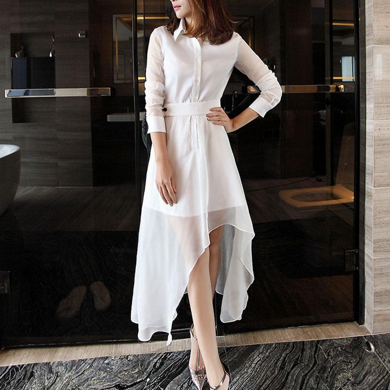 欧根纱长裙欧洲站2015秋季新款气质假两件修身显瘦雪纺衬衫连衣裙