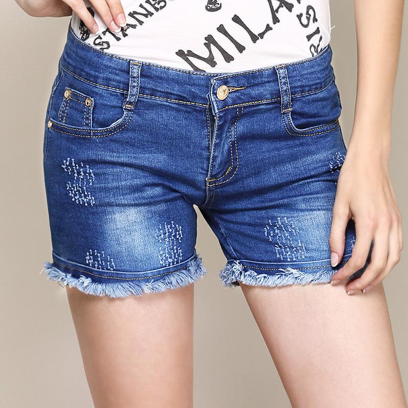 牛仔短裤女夏季 2015新款薄裤子修身显瘦 宽松大码mm卷边潮