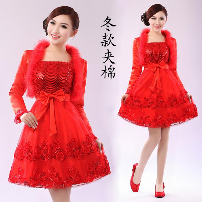 2014新款婚纱礼服 秋冬季订婚敬酒服结婚新娘装 晚装礼服孕妇可穿