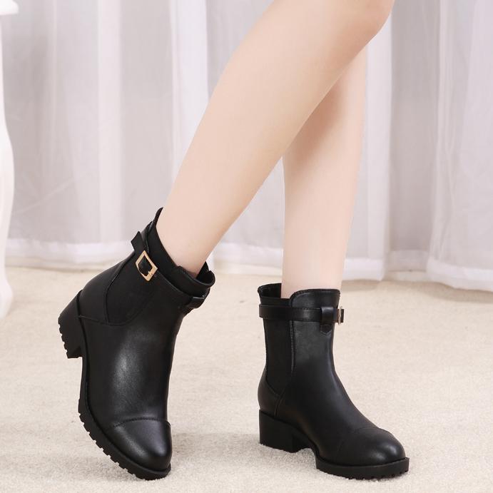 2014秋冬丽人达芺妮新款圆头防水台短靴牛皮中跟女靴粗跟马丁靴子