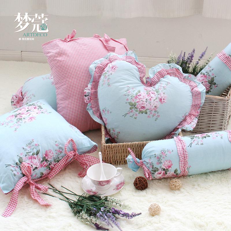 梦蔻 沙发抱枕套 含芯靠垫套子靠枕韩式田园2只包邮 年会奖品礼品