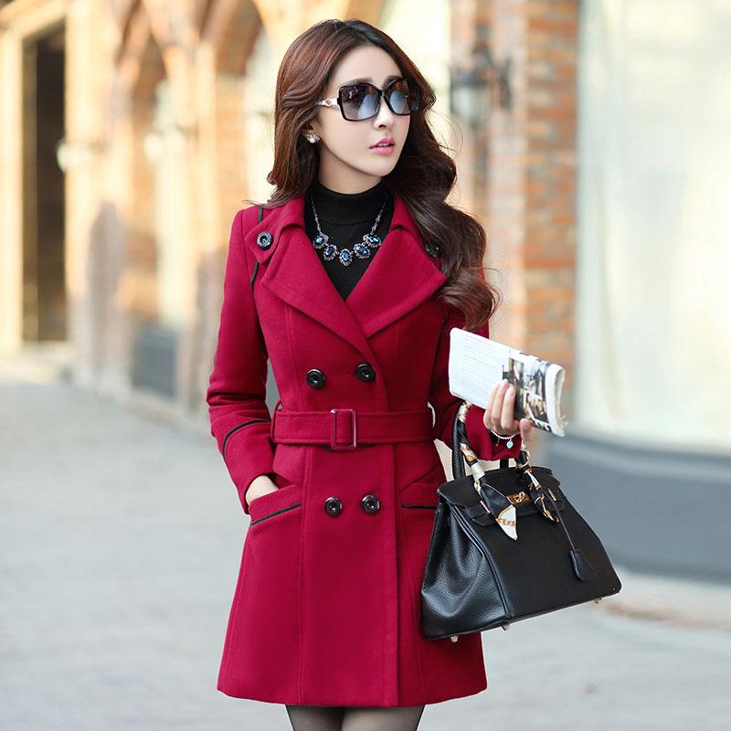 毛呢外套女2014秋冬新款潮韩版修身毛呢中长款毛呢外套大衣厚外套