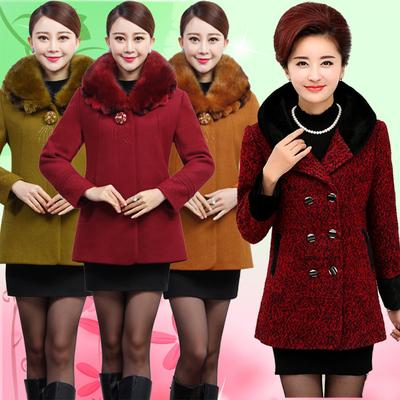 [限时促销] 中老年女装中长款毛呢外套上衣秋冬新款中年妈妈女装毛领羊绒大衣