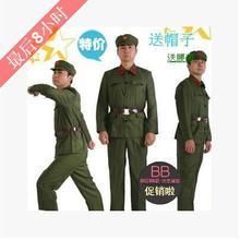 限时打折中老年革命红卫兵摄影军装军绿色加大XXXL演出服舞台时尚