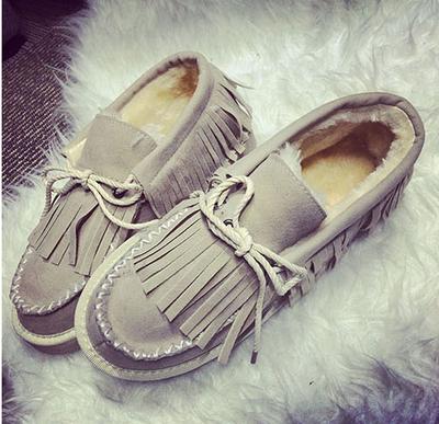 [惊喜] 2015包邮韩版流苏雪地厚底潮豆豆鞋冬季加绒女棉鞋保暖面包女单鞋