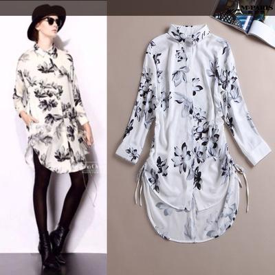 2015春夏新款时尚欧美高端走秀款翻领真丝印花不规则单排扣连衣裙