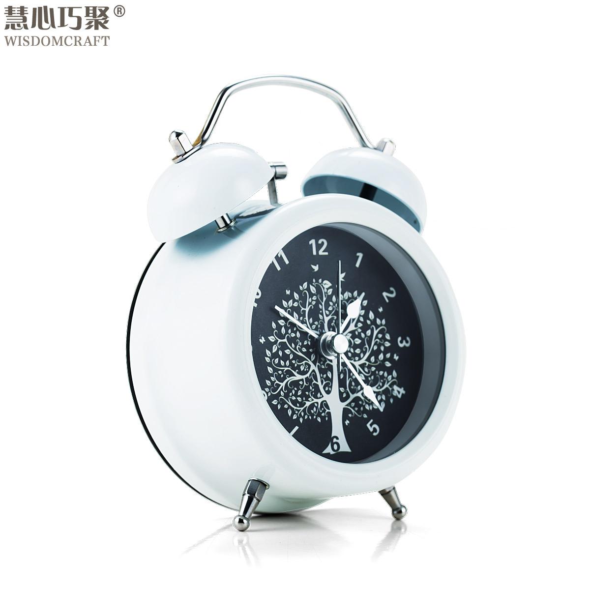 创意时尚闹钟可爱懒人静音夜灯双响铃大声学生正品闹钟