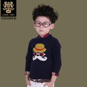 2014新款童装秋装 男童韩版圆领毛衣 中大童套头针织衫 纯羊毛