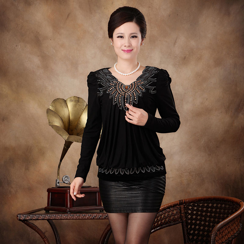 加绒加厚打底衫2014秋冬装新款大码显瘦宽松中年小衫长袖T恤女装