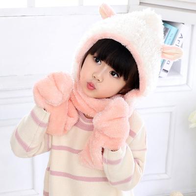 夏本秋冬小羊毛茸茸围巾手套帽子套件保暖可爱动物围脖儿童围巾