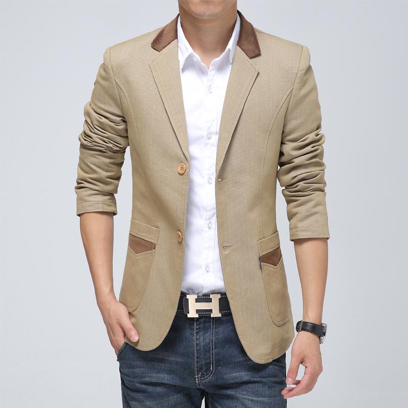 纯棉!男士两粒扣卡其色休闲西装 青年拼色修身型时尚长袖小西服