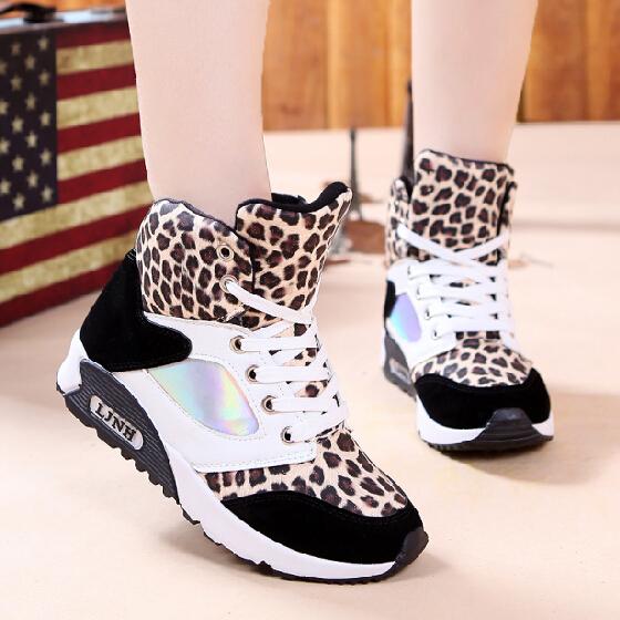 2014新款豹纹厚底内增高女鞋高帮百搭时尚学生学运动鞋凡客女鞋