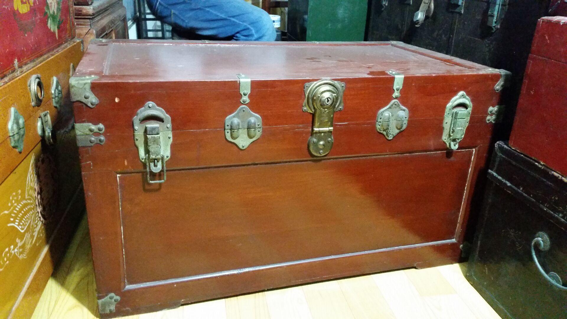 tot老樟木箱创意茶几书画箱老皮箱