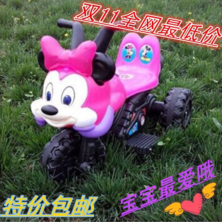 新款米奇儿童电动摩托车机器狗电动车三轮车推把三合一电动车包邮