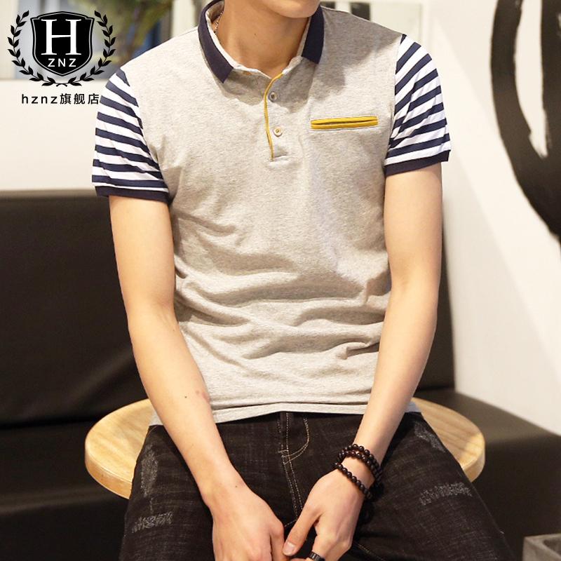 青年短袖体恤保罗韩版薄款运动衫男潮牌修身衬衫夏季